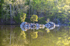 Trees and Rocks Reflected on Calm Water. A small island and trees in the reflected in the calm surface of the Widewater area of the C&O Canal National Historic royalty free stock photo