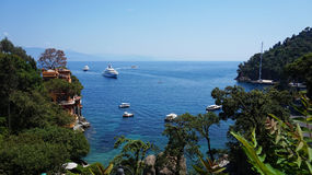 Trees and rocky landscapes with crystalline waters in Portofino, Italy.  Royalty Free Stock Image