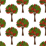 Trees seamless pattern. Autumn trees seamless pattern. Vector Illustration Royalty Free Stock Images