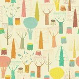 Trees seamless pattern in colors Royalty Free Stock Images