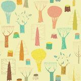 Trees seamless pattern in colors Royalty Free Stock Photography