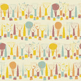 Trees seamless pattern in colors Royalty Free Stock Photos