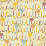 Trees seamless pattern in colors Stock Photos