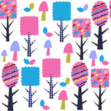 Trees seamless pattern and seamless pattern in swatch menu, vect. Or image Royalty Free Stock Images