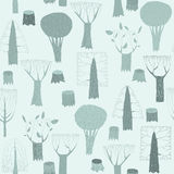 Trees seamless pattern tapestry in blue Royalty Free Stock Photography