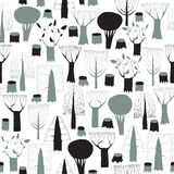 Trees seamless pattern tapestry in grey vector illustration