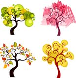 Trees set. Illustration of a beautiful colorful trees set Royalty Free Stock Images