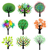 Trees set. Collection of various decorative trees Royalty Free Stock Image