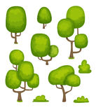 Trees. Set of cartoon trees and bushes vector illustration