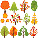 Trees Set. Set of 12 colorful trees Royalty Free Stock Photo