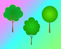 Trees set. Trees illustration landscaped collection vectornnn royalty free illustration