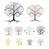 Trees Set Isolated on White Background Stock Photos
