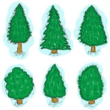 Trees set sketch, hand drawing style doodle trees. Christmas tree set. Vector illustration Stock Image