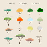 Trees set. The vector colorful trees set Stock Image