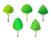 Trees set on white Stock Image