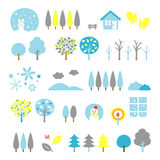 Trees set winter. File Stock Images