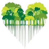 Trees shaped heart stock illustration