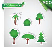 Trees shaped stickers Royalty Free Stock Photography