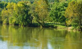 Trees Showing Early Fall Colors on the James River, Virginia, USA. An early autumn view of the James River located on the Blue Ridge Parkway, Virginia stock images
