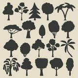 Trees silhouette icons set Royalty Free Stock Photos