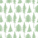Trees silhouette seamless patten. Vector ecology backdrop. Stock Images