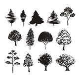 Trees silhouette vector decoration. Hand drawn sketches isolated set Royalty Free Stock Image