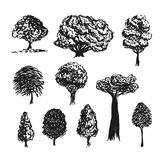 Trees silhouette vector decoration. Hand drawn sketches isolated set Royalty Free Stock Photography
