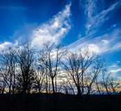 Clouds from the Mountaintop. Trees silhouetted against a beautiful evening sky in the Blue Ridge Mountains in North Carolina with wispy clouds in the heavens stock image