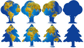 Trees silhouettes with earth map. World planisphere and continents in different trees digital illustration Stock Image