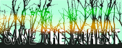Trees silhouettes. Save the forest horizontal banner concept with silhouettes of trees. Poster design, stock vector Stock Images