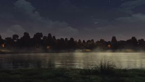 Calm pond in a city park under dark night sky