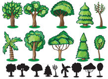 Trees and Silhoutte of trees Royalty Free Stock Photos