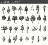 Trees sketch set, vintage vector style, hand drawn Royalty Free Stock Photography