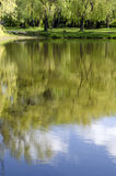 Trees and sky are reflected in the water. Spring landscape reflected in water royalty free stock images