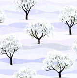 Trees in snow in winter garden seamless vector illustration
