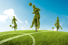 Trees soccers player. Trees in the shape of soccers player Royalty Free Stock Image