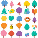 Trees in spring clip art set Stock Photo