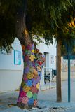 Trees with storm yarn. Decorated with coloured wool. Street Art. Hippie concept royalty free stock images