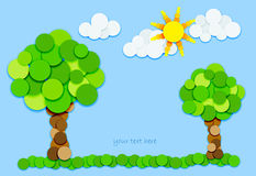 Trees and sun in color circles-H Stock Photos