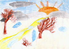 Trees and the sun drawn by children hand on paper Stock Photography