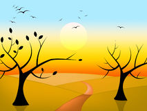 Trees Sun Indicates Birds In Flight And Branch Royalty Free Stock Photo
