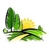 Trees and sun landscape design vector illustration