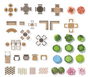 Trees top view , furniture, floor, for landscape . vector Stock Photos