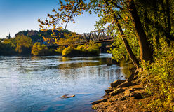 Trees and train bridge over the Potomac River in Harper's Ferry, Stock Photos