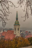 Through the trees. Tree framed shot of the church tower Bratislava Royalty Free Stock Photography