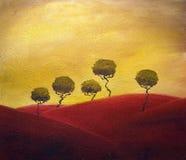trees tuscany stock illustrationer