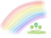 Trees under rainbow Royalty Free Stock Photography