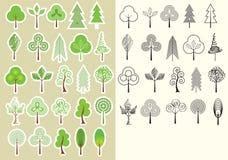 Trees.Vector η συλλογή των στοιχείων σχεδίου απομονώνει Στοκ φωτογραφία με δικαίωμα ελεύθερης χρήσης