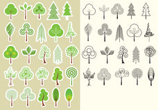 Trees.Vector collection of design elements isolate Royalty Free Stock Photo