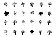 Trees Vector Icons 5 Royalty Free Stock Photos